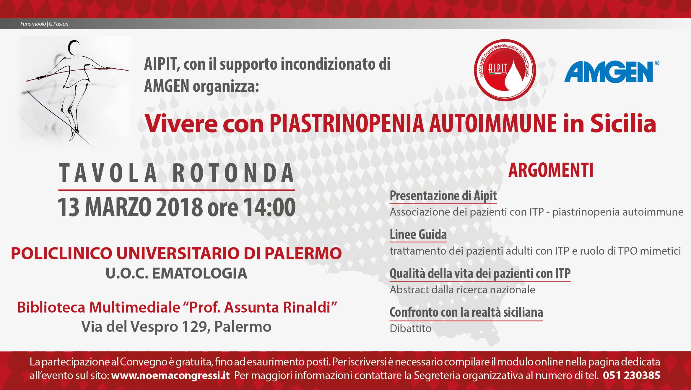 "Tavola rotonda ""Vivere con ITP-piastrinopenia autoimmune in Sicilia"""